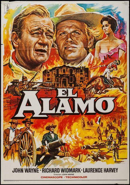 "The Alamo (Jupiter Films, R-1979). Spanish One Sheet (27.5"" X 39.5""). Western. Starring John Wayne, Richard Widmark, Laurence Harvey, Frankie Avalon, Richard Boone, Patrick Wayne, Linda Cristal, Chill Wills, Ken Curtis, Joseph Calleia, Veda Ann Borg, John Dierkes, Denver Pyle, Guinn 'Big Boy' Williams, and Olive Carey. Directed by John Wayne."