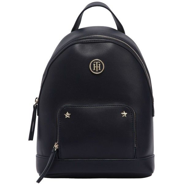 Tommy Hilfiger Women Saffiano Faux Leather Backpack (1.730 NOK) ❤ liked on Polyvore featuring bags, backpacks, navy, zipper bag, navy blue backpack, tommy hilfiger, logo backpack and vegan backpack