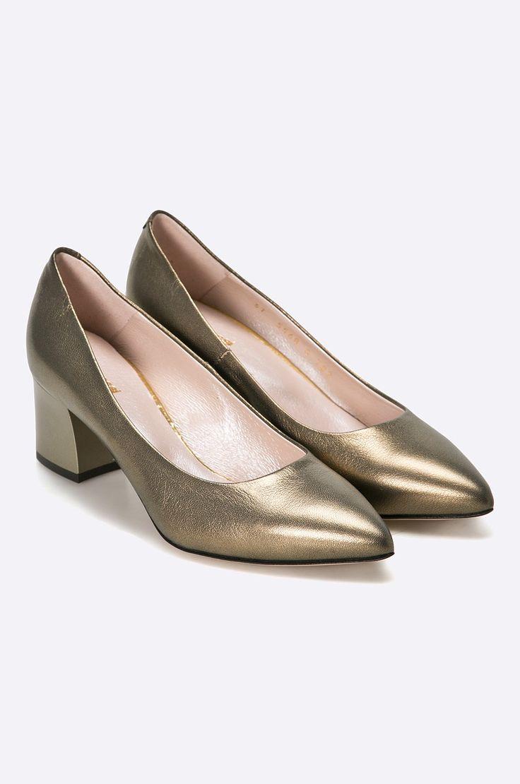 Pantofi aurii bronz cu toc mic gros si varf ascutit