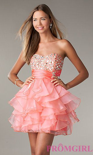Short Strapless Prom Dress with Ruffled Skirt by LA Glo at PromGirl.com
