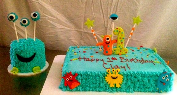 Lil' Monster Smash Cake and sheet cake 1st Birthday Cake by Sweet T's cake design - Ellenton Florida