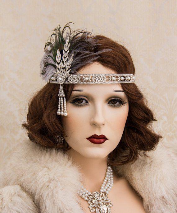 Black//Silver Flapper Headband Feather Womens Headpiece Head Band 20s Costume NEW
