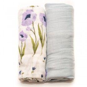 Blue Wildflower Bamboo Muslin Swaddle Blanket - Set of 2