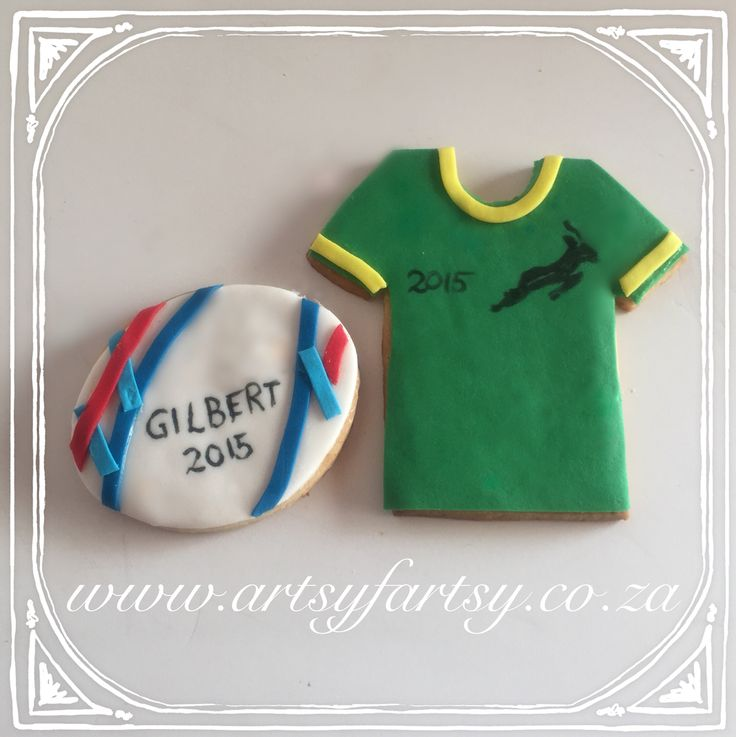 Rugby World Cup Springbok Jersey and Ball Cookies #rugbyworldcup2015cookies