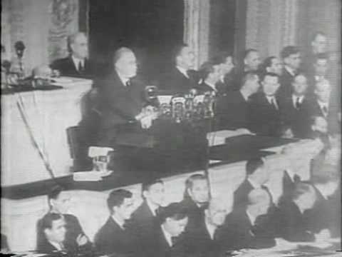 """January 6, 1941: President Franklin Delano Roosevelt addresses a joint session of Congress in his """"Four Freedoms"""" speech."""