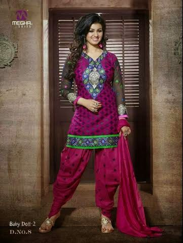 Beautifully Designed Majenta Patiyala Dress in Cotton with awesome embroidery work done. Comes along with Majenta matching finely embroidered Bottom and Duppatta.