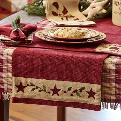 Pretty & festive border on this Christmas Table runner. PKD-887-13-Christmas-Star-54-Inch-Table-Runner-LRG