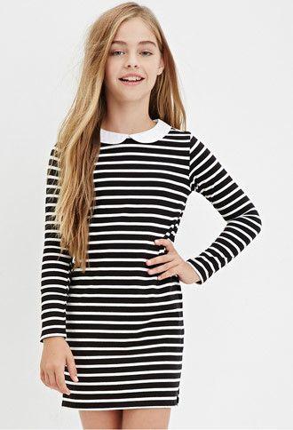 Girls Collared Stripe Shift Dress (Kids)   Forever 21 girls - 2000181296