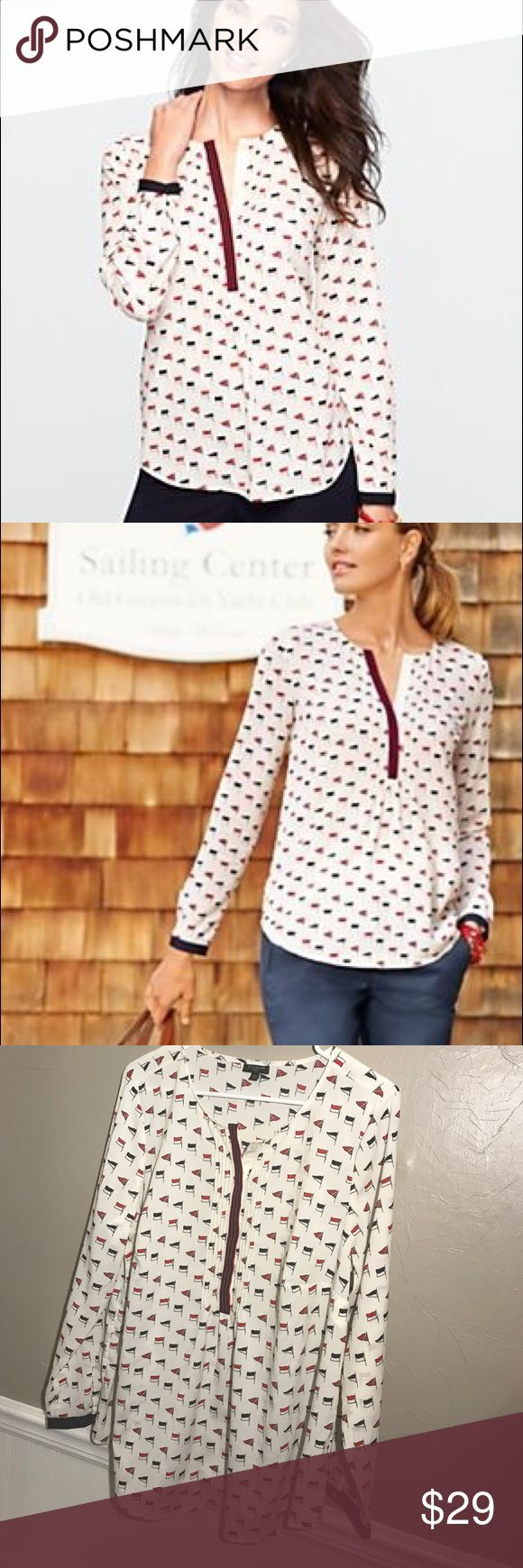 Talbots Nautical Flag Pintuck Blouse Henley NWOT Talbots Nautical Flag Pin tucked Henley Blouse NWOT • great red white and Blue Nautical Blouse  • no trades Talbots Tops Blouses