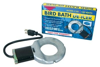 Features:  -Material: poly.  -Bathing, frolicking birds provide relaxing entertainment.  -Made in the U.S.A..  -Color: Silver.  Country of Manufacture: -United States.  Product Type: -Bird Bath Heater