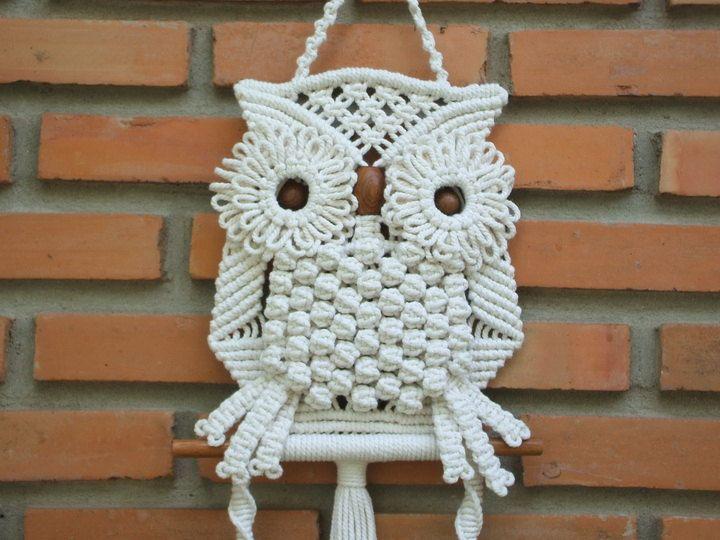 White Owl And Its Nest Macrame Wall Hung Beautiful