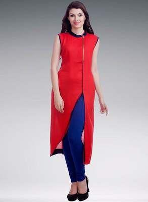 Rahi Red And Blue Designer Ready To Wear Stitched Cotton Kurti With Legging Rf20146 Kurtas and Kurtis For Women