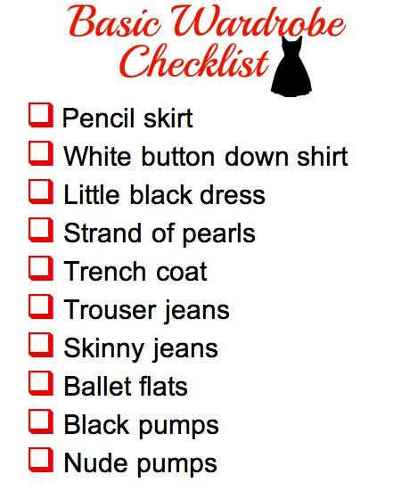 Basic Wardrobe Checklist