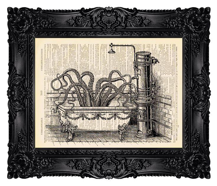 Bathroom Art Vintage: BATHROOM ART Octopus In Victorian Bathroom On A Vintage