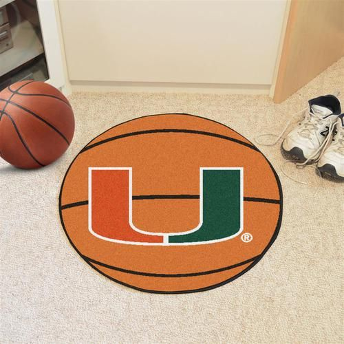 "Miami Hurricanes basketball floor mat. This round Hurricanes basketball rug is 27"""" in diameter. Mat is chrome jet printed, allowing full penetration of the color down the entire tuft of the high lust"