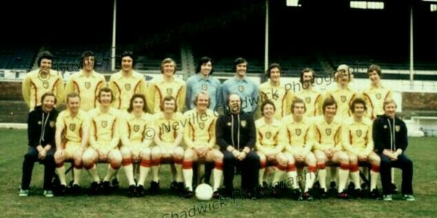 Wales team group (in yellow away kit) in 1976.