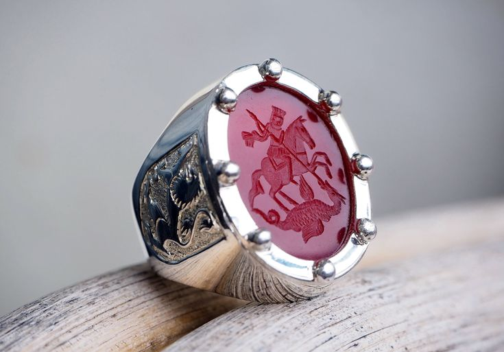 St George Ring Intaglio Hand Engraved Red Agate Sterling Silver 925 by Regnas on Etsy