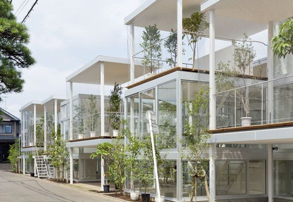 Architects: Kazuyo Sejima + Ryue Nishizawa / SANAA Location: Tokyo, Japan Year built: ?? All-glass walls and open terraces comprise this small group of steel-framed apartments situated within a den...