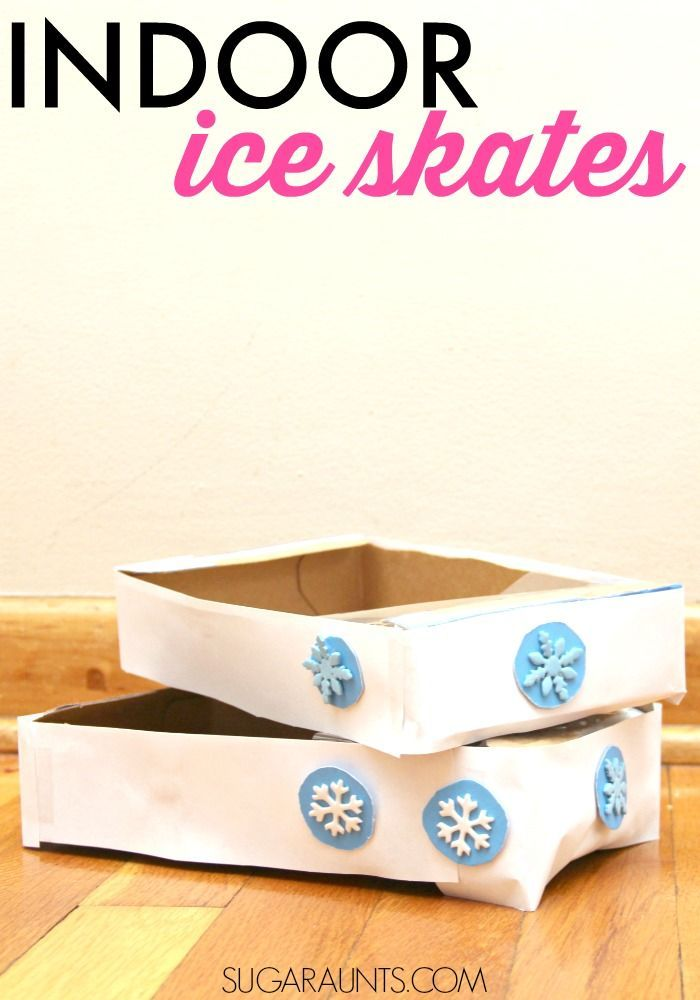 Use a cardboard box for Indoor Ice Skates proprioception and vestibular sensory play activity with kids.