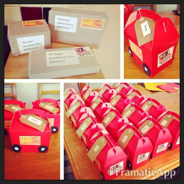 Postman pat party vans I made for Jimmy's 2nd birthday party! :)