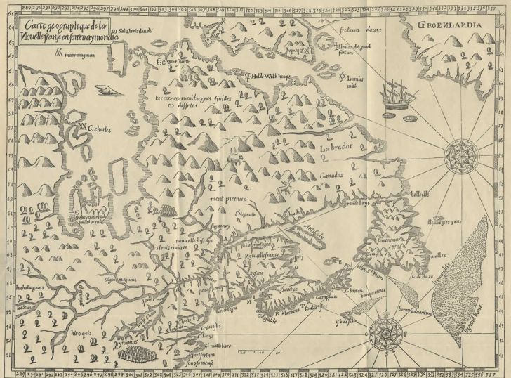 Map of New France drawn by Samuel de Champlain in 1612