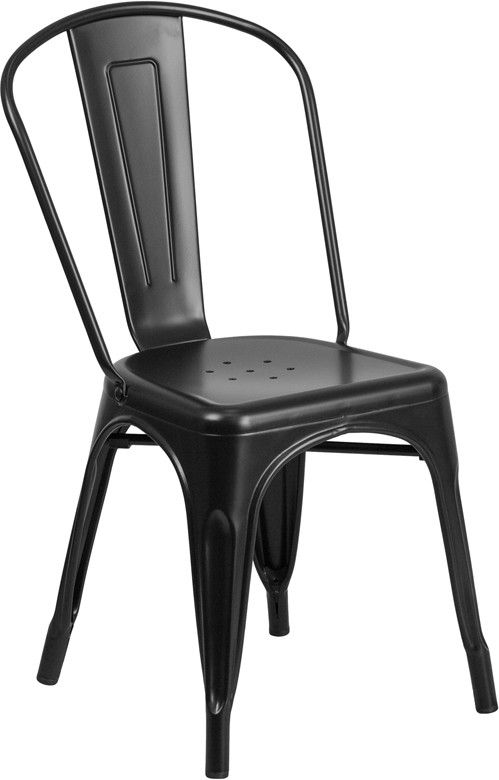Matte Black Metal Chair