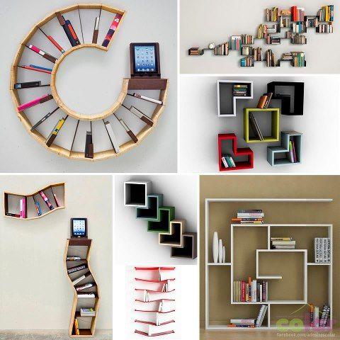 Estanterías de diseños originales para pared y suelo  #estantería #libros