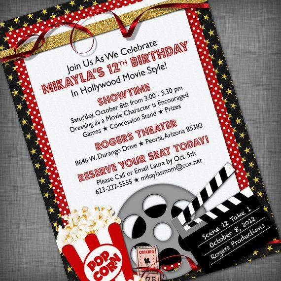 Movie Party Customized Printable Invitation by CheBellaCarta, $13.95