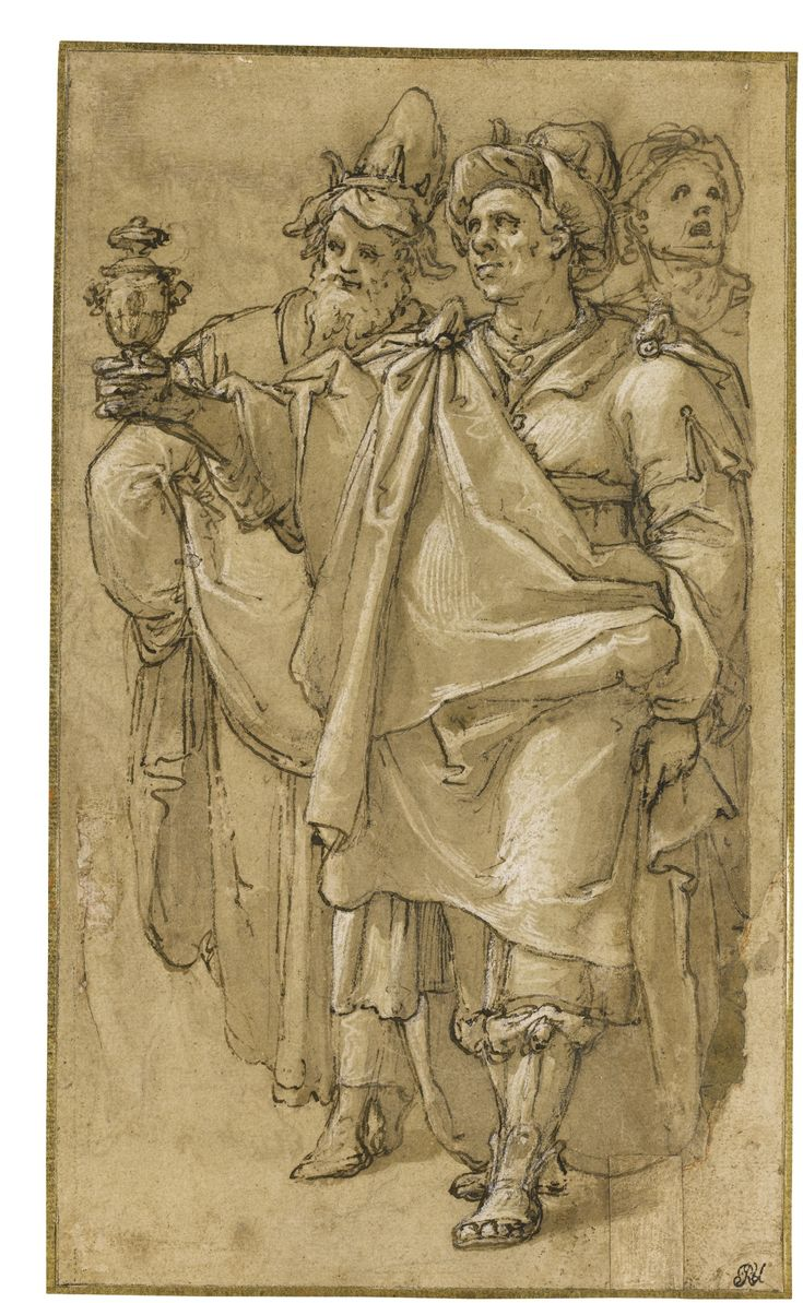 Federico Zuccaro (Federico Zuccari), c.1540/1541-1609, Italian, Two Magi and an Attendant.  Pen and brown ink and wash, heightened with white, over black chalk, within black chalk framing lines; 30.9 x 18 cm.  Mannerism.