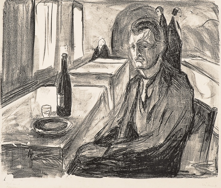 Self-portrait with a Bottle of Wine, Edvard Munch.