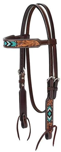 Two-Tone Turquoise Beaded Browband Headstall