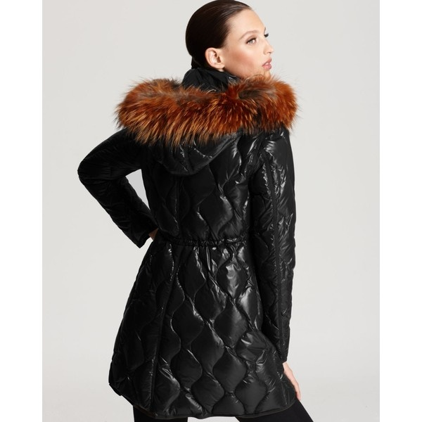 Moncler Lontre Lacquer Cinched Mid Down Coat With Fur ($1,995) ❤ liked on Polyvore