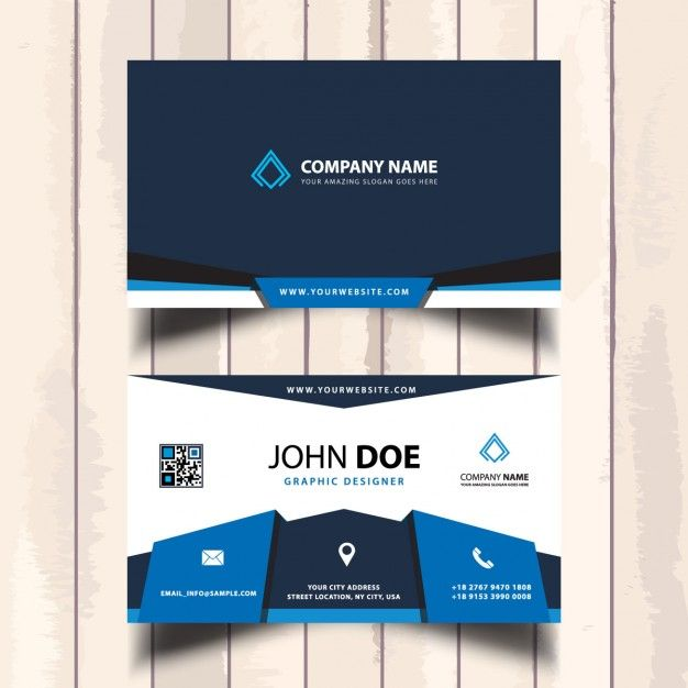Blue corporate visit card Free Vector