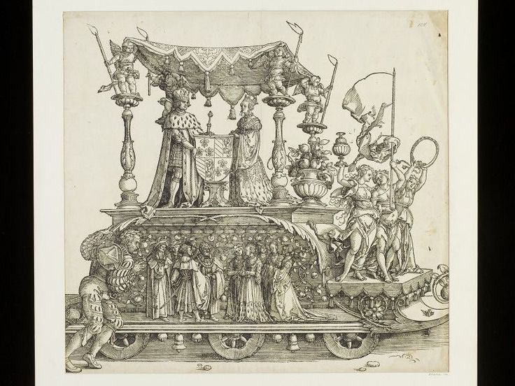 Abrecht Dürer: Maximilian I.& his wife,, (A.:90) woodcut, Triumphal procession of Emperor Maximilian I., ca. 1516 - 1519, currently attributed to Albrecht Dürer, Victoria & Albert Museum, London, V&A Search the Collections