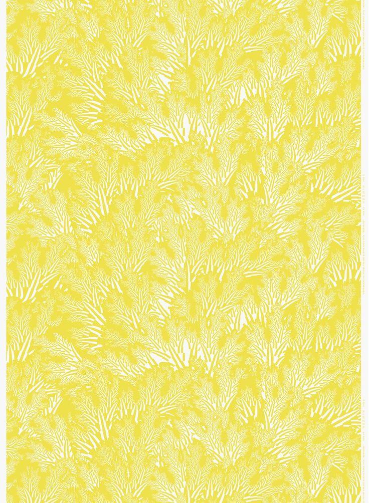 Meriheinä-ohut pellava (keltainen, valkoinen) | Kankaat, Pellavat | Marimekko