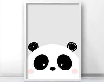 Oso panda vivero lámina arte infantil por IreneGoughPrints en Etsy
