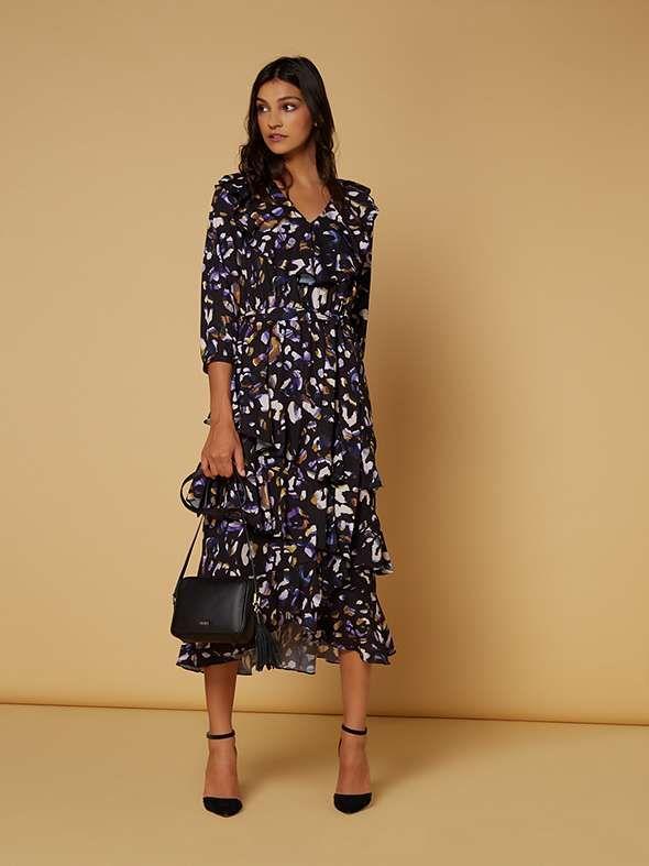 62345f7874c View product Biba Leopard print ruffle midi dress