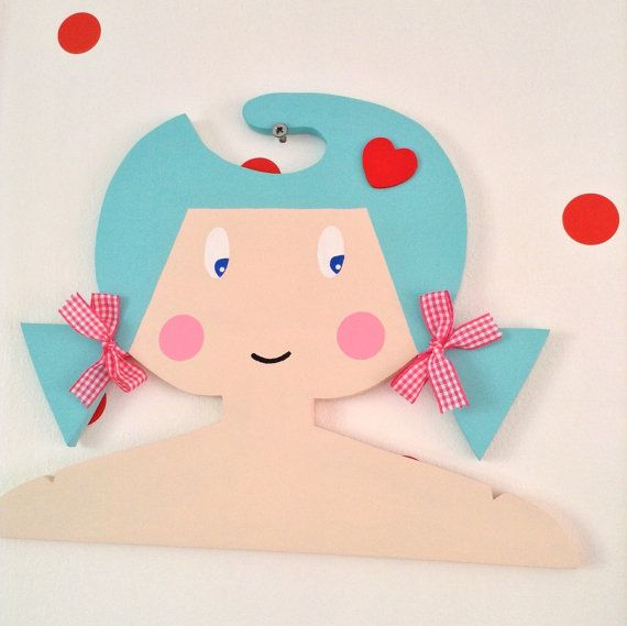 Childrens Handpainted Clothes Hanger With Turquoise by Daisymooo