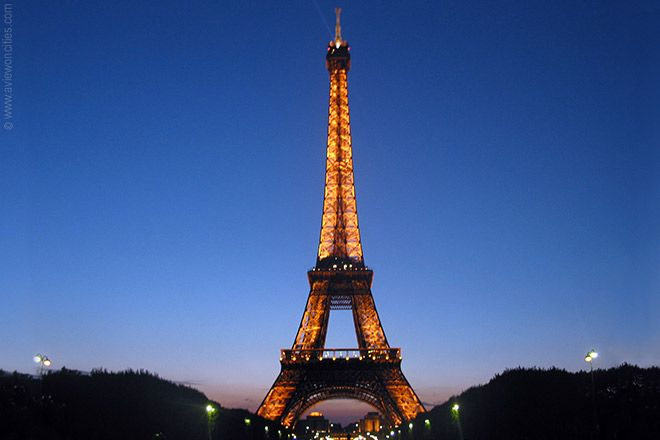 Paris, France - The Eiffel Tower (one of my favorite sights especially all lit up at night) ... oh Paris when will we meet again?