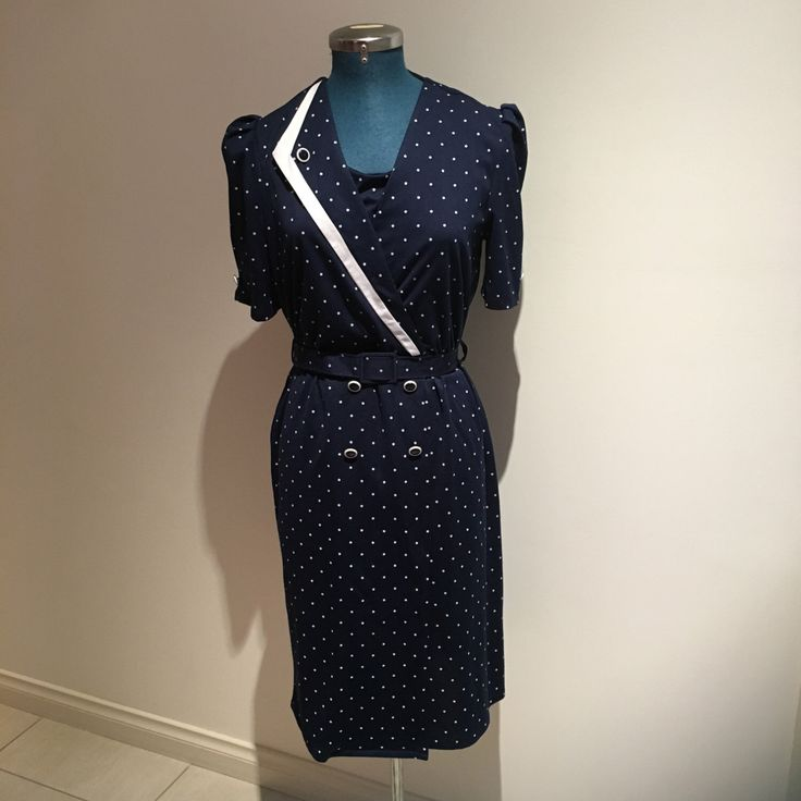 A personal favourite from my Etsy shop https://www.etsy.com/au/listing/268238378/1980s-vintage-white-dot-navy-dress