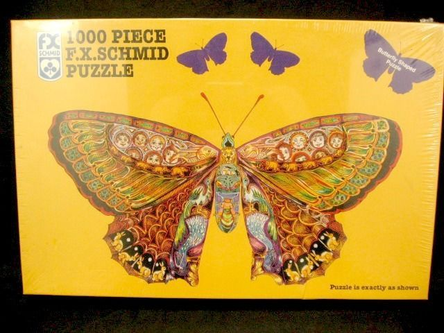 F X Schmid Whimsical Butterfly Shaped 1000 Piece Puzzle New In Sealed Box #FXSchmid