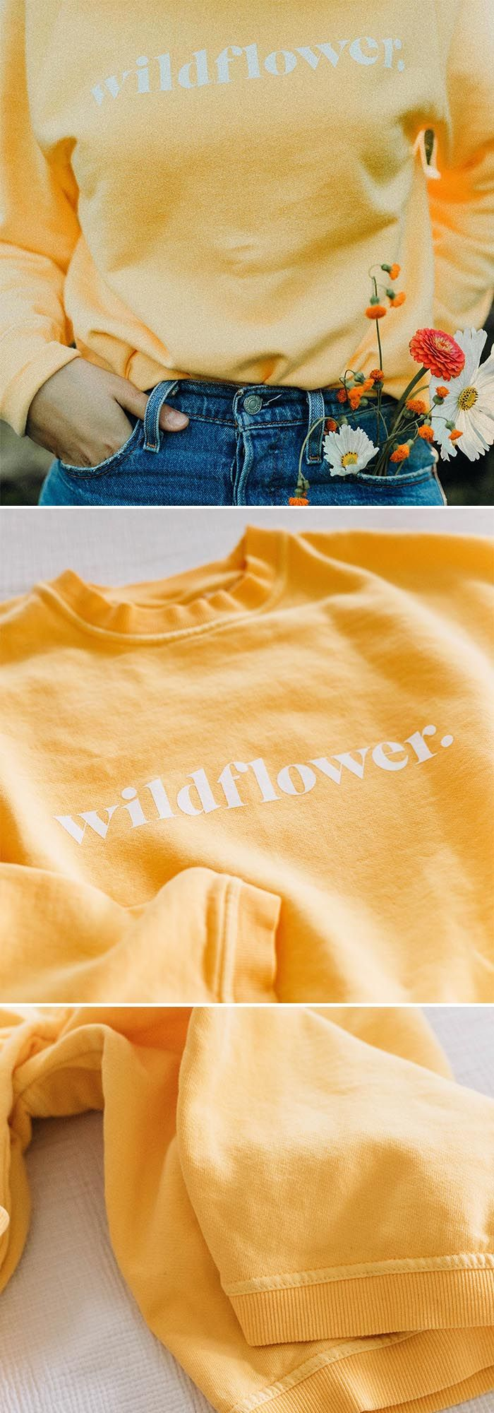 Cozy crewneck sweater with Wildflower graphic print. Vintage gold yellow. A perfect piece for your closet. 29.99 #OOTD #Style #Fashion #SweaterWeather #Fashion #Clothing #Outfit #Polyvore