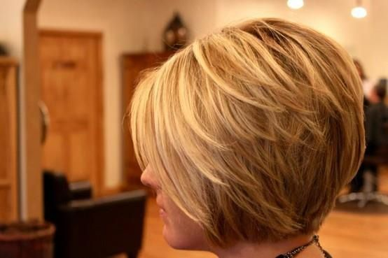 Short, layered bob. Would love to do this one day ... one day. like the color and cut. but my waves would not work with this.