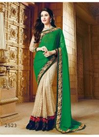 Kmozi New Latest Designer Green and Cream Saree ..  http://www.kmozi.com/bollywood-replica/bollywood-saree/kmozi-new-latest-designer-green-and-cream-saree-797