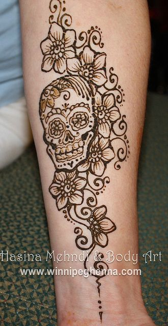sugar skull henna by hennajunkie95, via Flickr