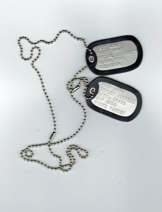Custom Embossed GI Tag, Military Dog Tag, Dog Tag, Military ID Tags, Stainless Steel on Etsy, $4.99