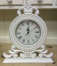 Shabby Chic Vintage Style White Mantle Mantel Ornate Clock   eBay