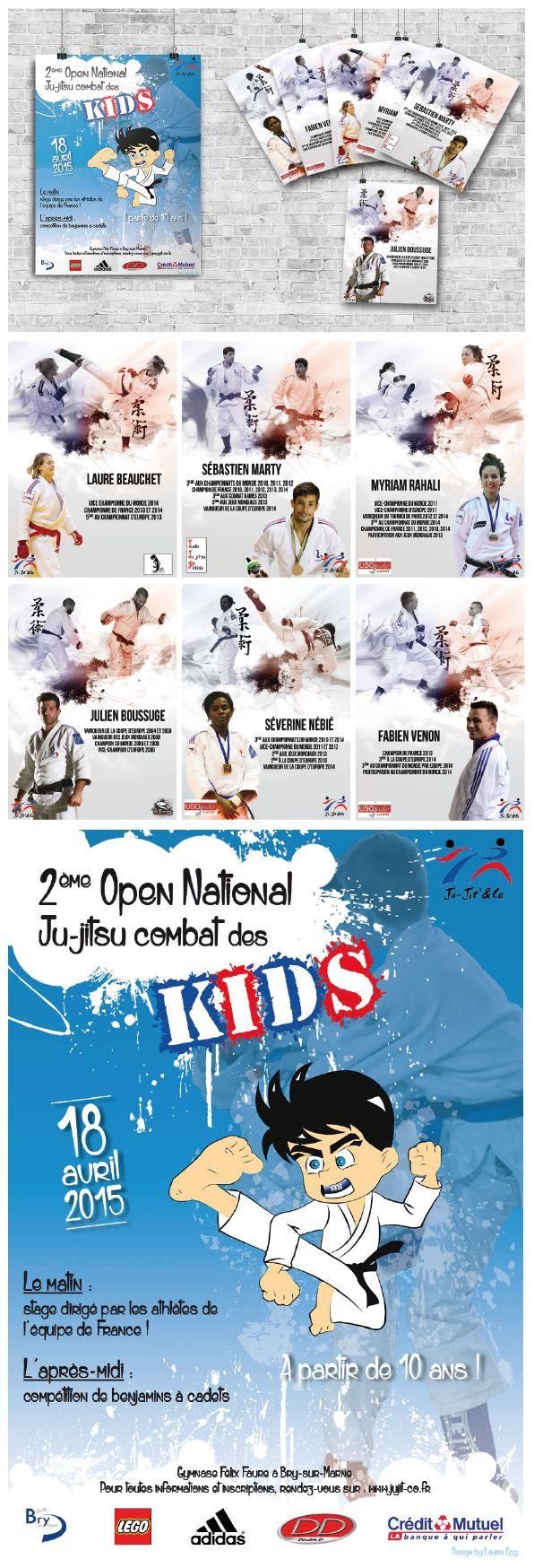 Promotion open des kids ju-jitsu 2015. Affiche et flyers des athlètes #sport #ju-jitsu #affiche #flyers #poster #promotion #enfants