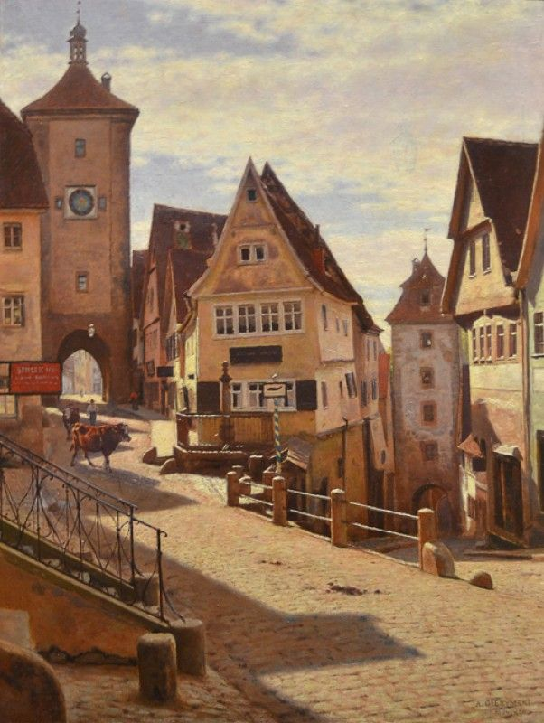 Aleksander Gierymski - Zakątek Am Plönlein w Rothenburgu