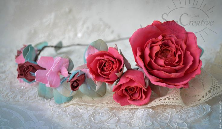Купить Веночек..Летнее настроение. - фуксия, венок из цветов, фотосессия, свадебные аксессуары, розы, гортензия